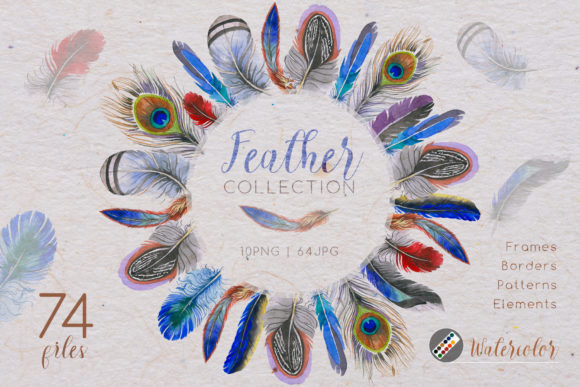 Print on Demand: Feather Collection Watercolor Set Graphic Illustrations By MyStocks