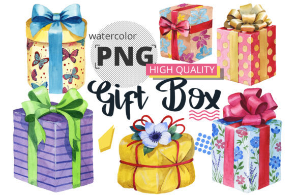 Print on Demand: Gift Boxes Watercolor Set Graphic Illustrations By MyStocks