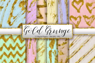 Print on Demand: Gold Grunge Background Digital Papers Graphic Backgrounds By PinkPearly