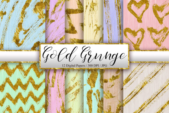 Gold Grunge Background Digital Papers Graphic Backgrounds By PinkPearly