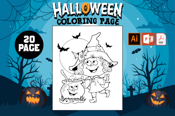 Print on Demand: Halloween Coloring Pages for Kids Graphic Coloring Pages & Books Kids By Fox Design Studio - Image 1