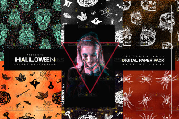 Halloween Digital Paper & Scrapbook Graphic Patterns By 2SUNS