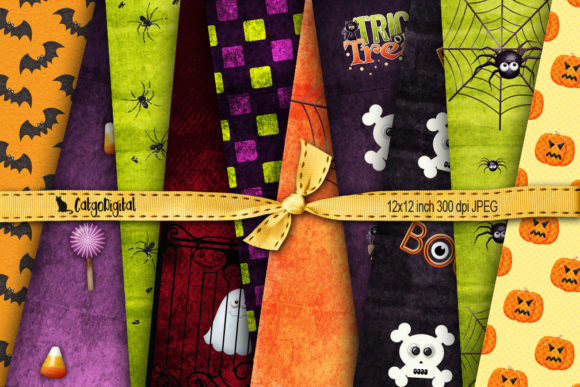 Print on Demand: Halloween Patterned Papers Backgrounds Graphic Patterns By CatgoDigital