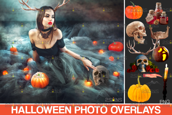 Halloween Overlay & Pumpkin Clipart Graphic Actions & Presets By 2SUNS
