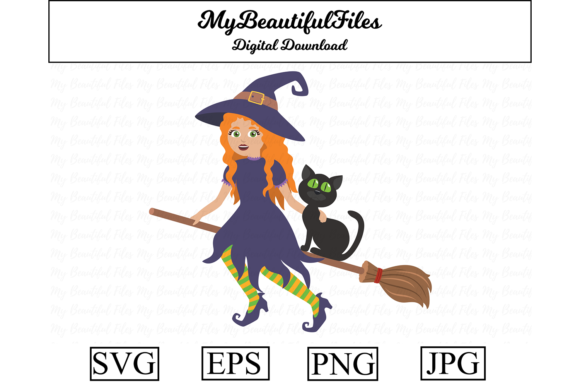 Print on Demand: Halloween - Witch on a Broomstick Graphic Illustrations By MyBeautifulFiles