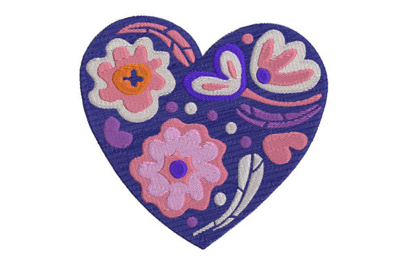Print on Demand: Heart with Hungarian Motif, 2 Sizes. Shapes Embroidery Design By Embroidery Shelter