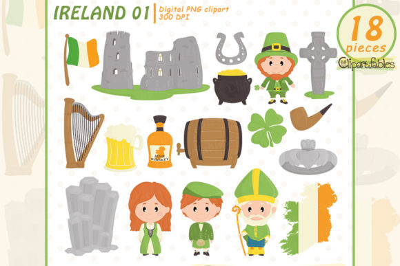 Ireland Clipart, Celtic, Travel Design Graphic Illustrations By clipartfables