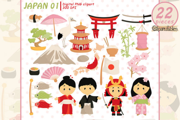 Japan Tradition Clipart, Japanese Design Graphic Illustrations By clipartfables