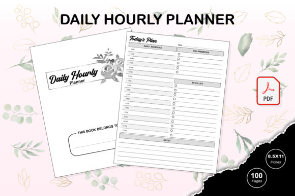 Print on Demand: KDP Interior Daily Hourly Planner Graphic KDP Interiors By TripleBcraft