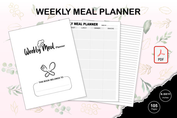 Print on Demand: KDP Interior Weekly Meal Planner Graphic KDP Interiors By TripleBcraft