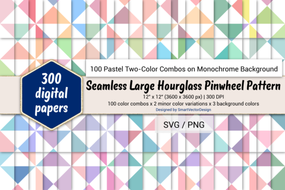 Print on Demand: Large Hourglass-Two-Color Pastels on BG Graphic Backgrounds By SmartVectorDesign