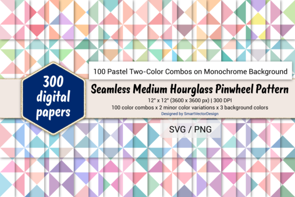 Print on Demand: Medium Hourglass-Two-Color Pastels on BG Graphic Backgrounds By SmartVectorDesign