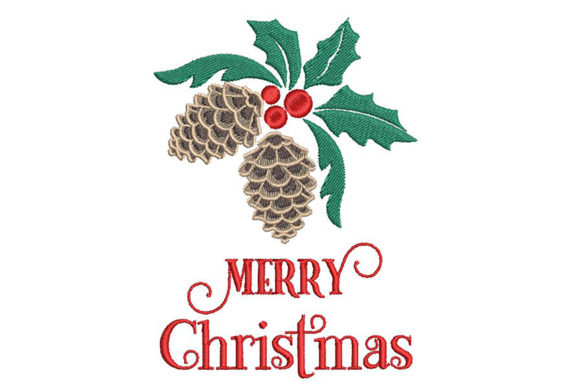 Print on Demand: Merry Christmas Quote and Decor, 2 Sizes Christmas Embroidery Design By Embroidery Shelter