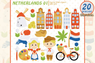 Netherlands Clip Art, Travel in Europe Graphic Illustrations By clipartfables