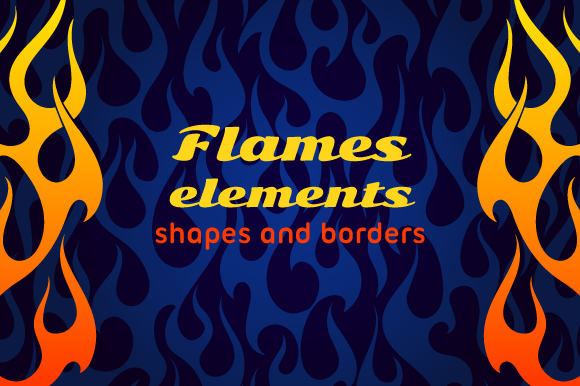 Old School Hot Rod Flame Elements Set Graphic Objects By nomadharley
