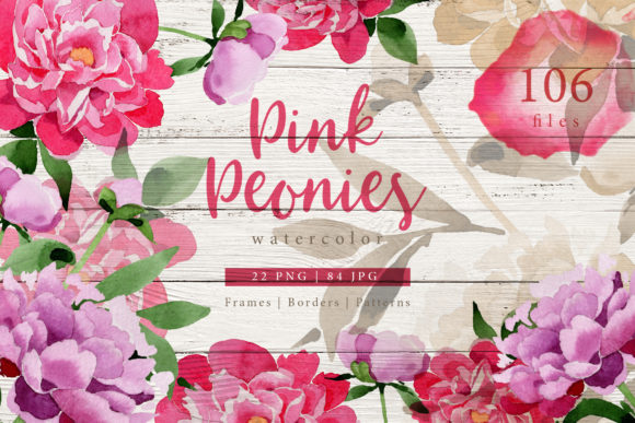 Print on Demand: Pink Peonies Watercolor Graphic Illustrations By MyStocks