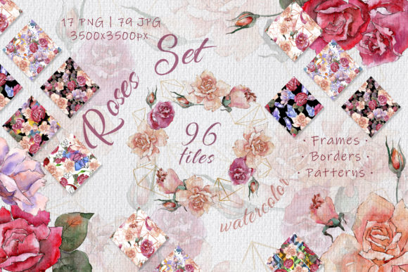 Print on Demand: Pink and Beige Roses Watercolor Set Graphic Illustrations By MyStocks