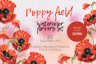 Print on Demand: Poppy Field Watercolor Set Graphic Illustrations By MyStocks