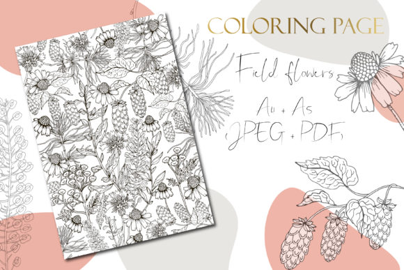 Printable Digital Floral Coloring Page Graphic
