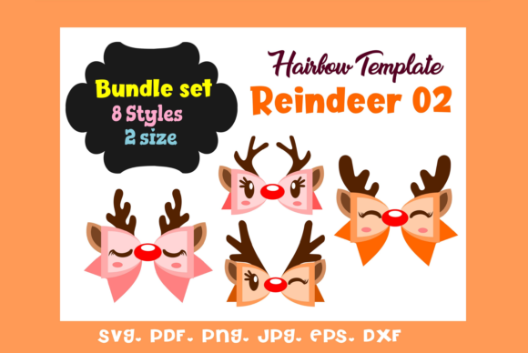 Reindeer 02 - (8)Style  HairBow Template Graphic Graphic Templates By momstercraft