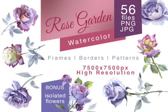 Print on Demand: Rose Garden JPG Watercolor Set Graphic Illustrations By MyStocks