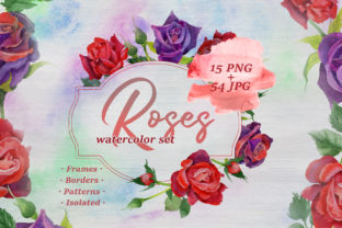 Print on Demand: Roses Watercolor Set Grafik Illustrationen von MyStocks