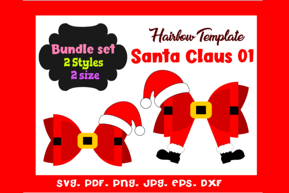 Santa Claus 01 - (2)Style HairBow Temple Graphic 3D SVG By momstercraft