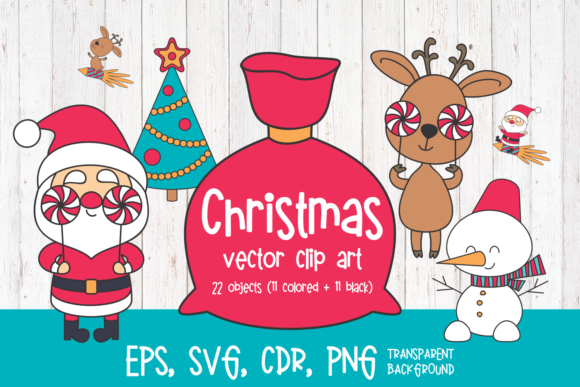 Print on Demand: Santa Claus and Deer. Christmas Clip Art Graphic Illustrations By Olga Belova