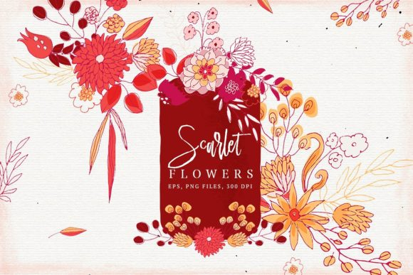 Print on Demand: Scarlet Flowers Graphic Illustrations By webvilla