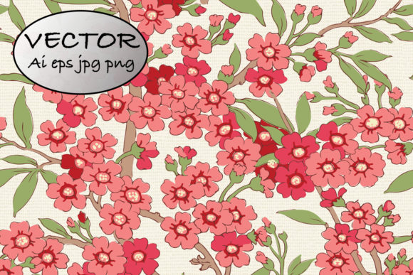 Seamless Pink Blossom Pattern Clipart Graphic Patterns By emikundesigns