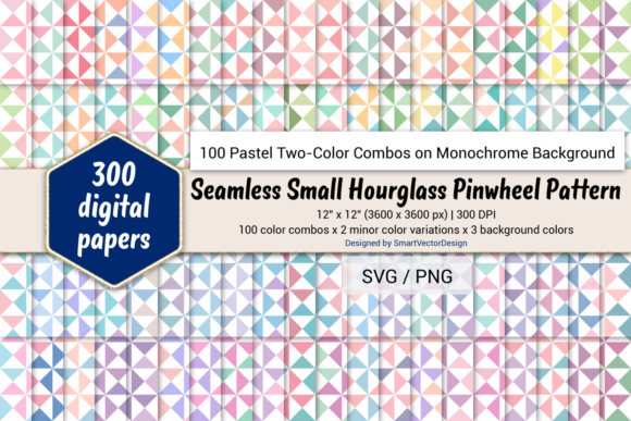 Print on Demand: Small Hourglass-Two-Color Pastels on BG Graphic Backgrounds By SmartVectorDesign