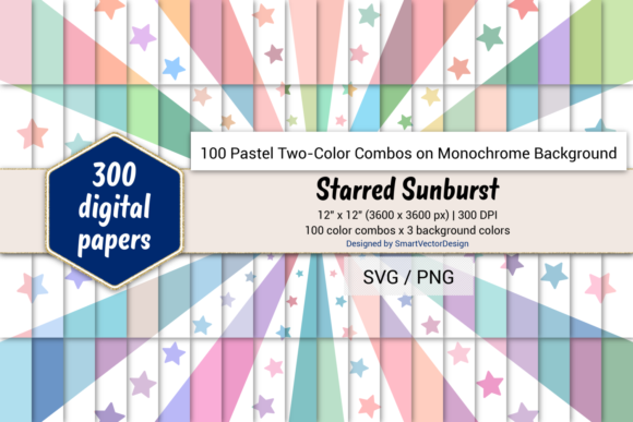 Print on Demand: Starred Sunburst-Two-Color Pastels on BG Graphic Backgrounds By SmartVectorDesign