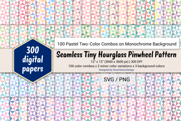 Print on Demand: Tiny Hourglass - Two-Color Pastels on BG Graphic Backgrounds By SmartVectorDesign
