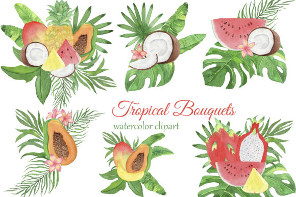 Print on Demand: Tropical Fruits Bouquets Graphic Illustrations By s.yanyeva