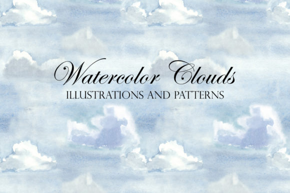 Watercolor Sky and Clouds. Patterns Graphic Illustrations By Slastick