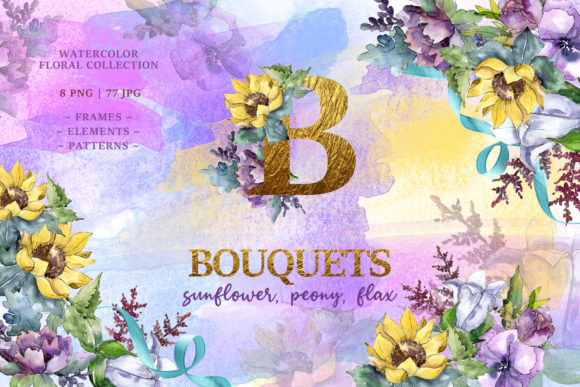 Print on Demand: Watercolor Bouquets with Sunflowers,peonies and Flax Collection Graphic Illustrations By MyStocks