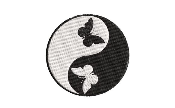 Yin-Yang Symbol with Butterflies Embroidery