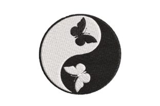 Print on Demand: Yin-Yang Symbol with Butterflies Shapes Embroidery Design By Embroidery Shelter
