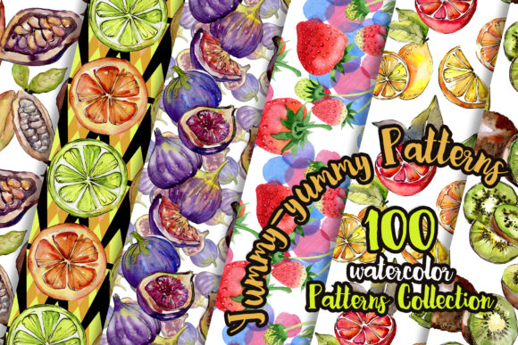 Print on Demand: Yummy-yummy 100 Patterns of Fruits Watercolor Set Graphic Illustrations By MyStocks