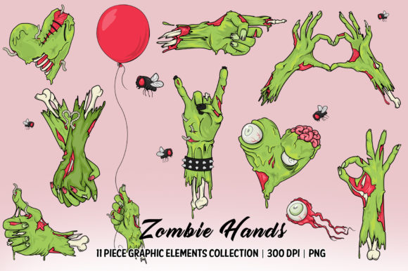 Zombie Hands Elements Collection Graphic Illustrations By Dapper Dudell