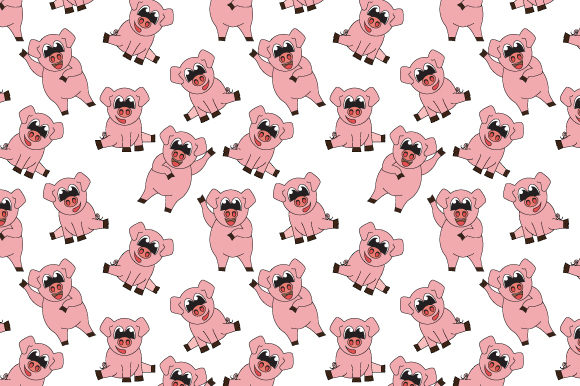 Print on Demand: Cute Pig Seamless Pattern Graphic Patterns By curutdesign