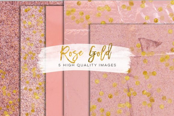 Print on Demand: Faux Rose Gold Foil Paper Gold Clip Art Graphic Illustrations By SunflowerLove