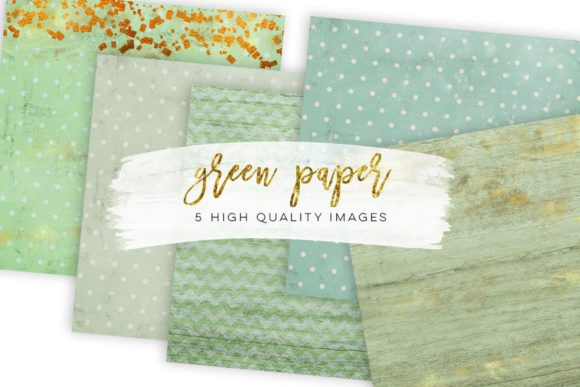 Print on Demand: Green Gold Digital Paper Clip Art Rustic Graphic Illustrations By SunflowerLove