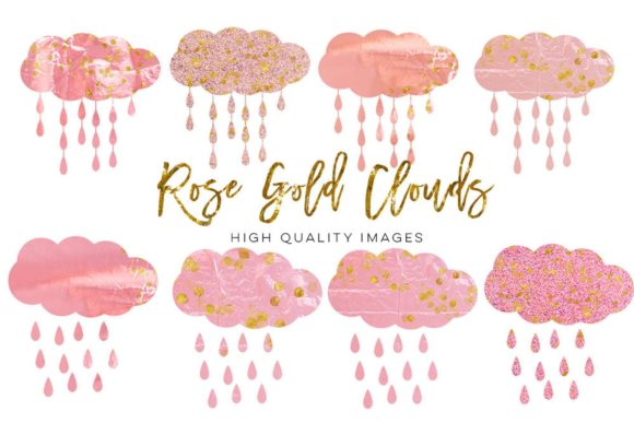 Print on Demand: Rose Gold Cloud Clip Art, Pink Clip Art Graphic Illustrations By SunflowerLove