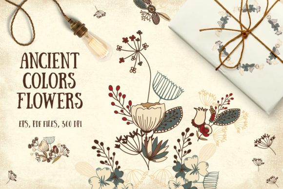 Print on Demand: Ancient Colors Flowers Graphic Illustrations By webvilla