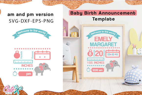 Baby Birth Announcement Elephant Svg Graphic Illustrations By Cute files