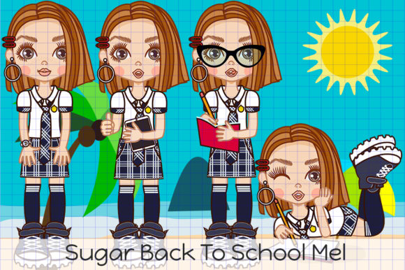 Back to School Mel Graphic Illustrations By Dolls To Go