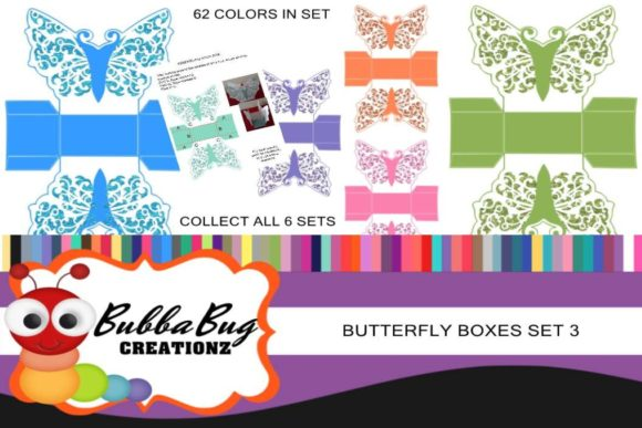 Butterfly Boxes Set 3 Graphic Crafts By BUBBABUG