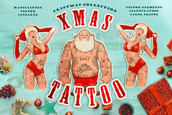 Cristmas Vector Collection: Xmas Tattoo Graphic Illustrations By LaVika