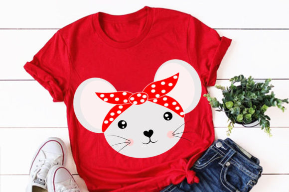 Print on Demand: Cute Mouse Animal Face with Bandana Svg Graphic Illustrations By Lillyrosy - Image 1